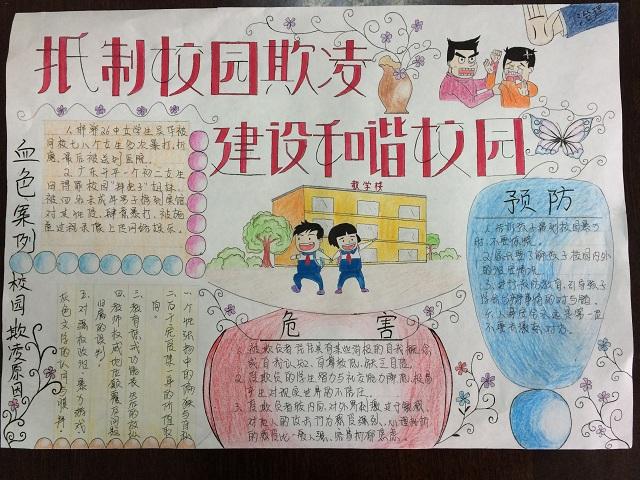 淮南市职教中心 抵制校园欺凌 建设和谐校园 手抄报评比活动