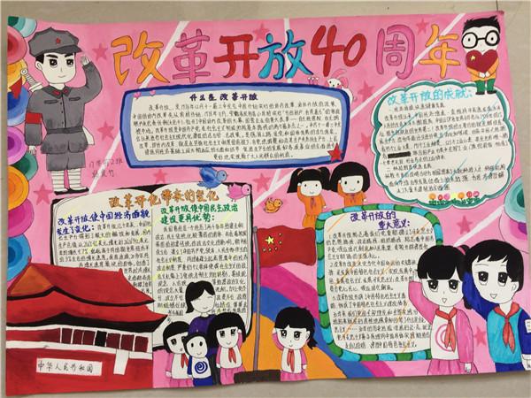"""学校举办""""纪念改革开放40周年""""手抄报评比"""
